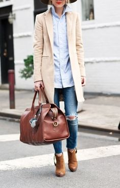 "Weekend outfit. Love that bag. So very ""all put together."""
