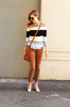 Fall outfit idea! Stripes and tobacco brown fall outfit #fashion #outfits #fall…