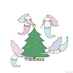 Mermaids getting ready for Christmas!   Illustration by Rosie Chomet
