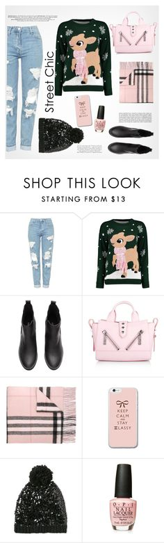 """""""Street Style Chic Christmas Sweater"""" by fancy-chic ❤ liked on Polyvore featuring Topshop, Boohoo, Kenzo, Burberry and Betsey Johnson"""