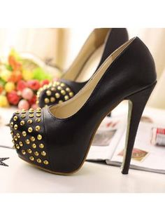 Round Toe Gold Rivets Decoration Black High Heels