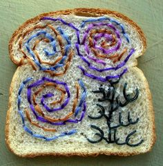 Artist Catherine McEver embroiders Wonder Bread . . . wonderful! http://www.eatmedaily.com/2010/05/embroidered-wonder-bread-food-art/?so=bl