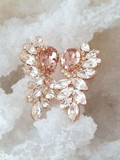 Rose gold Blush earrings Bridal earrings Blush by EldorTinaJewelry | http://etsy.me/2cidPd6