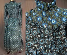 This antique Victorian era indigo blue print cotton calico morning wrapper workwear dress dates from 1890. It is made of an indigo blue and black cotton calico fabric, with a floral leaf, circular diamond design print pattern. | eBay!
