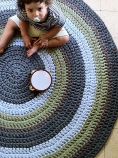Crochet Rug ,Round Rug, Colorful Rug, Children Rug, Cotton Rug, Knitted Rug on Etsy, $285.85 AUD