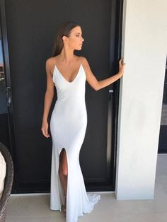 long prom dresses - Spaghetti straps long white slit prom dress, long simple formal dress with slit Grad Dresses, Dance Dresses, Wedding Dresses, Bridesmaid Gowns, Pageant Dresses, Slep Dress, Simple Formal Dresses, Simple Long White Dress, Dress Formal