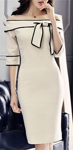 Graceful Off-The-Shoulder 3/4 Length Sleeves Bowknot Dress For Women