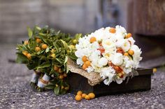 kumquat bouquet (w/more peach flower accents and green leaves)