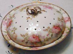 Vintage Limoges Vented Serving Dish Pink Roses by MidCenturyMonkey, $75.00