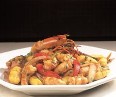 Shrimp Stir-Fry with Yellow Potato Gnocchi and Balsamic Vinegar Reduction (Saltado de Camarones)