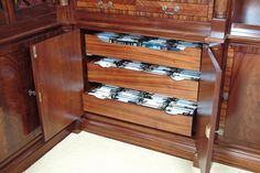 Organise your DvDs and Videos easily with this stylish but subtle storage unit. Bespoke Kitchens, Bespoke Furniture, Wine Rack, Organization, Detail, Stylish, Storage, Videos, Room
