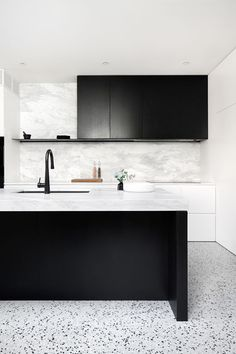 INSPIRATION: bring calm and cool factor to this Prahran home, blending soft Elba stone bench tops and punchy terrazzo with black stained oak cabinetry. Interior Desing, Contemporary Interior Design, Interior Design Kitchen, Design Bathroom, Modern Interior, Home Design, Küchen Design, Design Trends, Grey Kitchen Designs