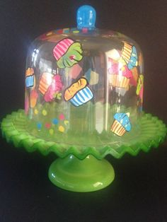 Cute! Hand Painted Glass Dome Cup Cake Holder Green Plate #Unbranded
