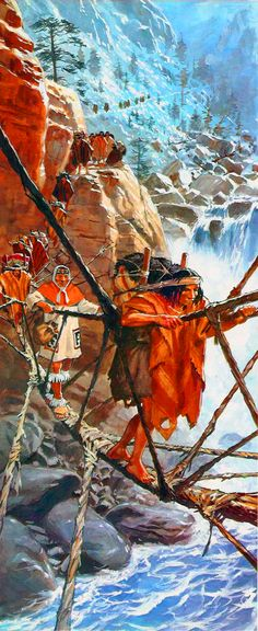 Inca soldiers crossing the Andes
