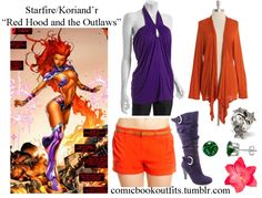 Starfire- Red Hood and the Outlaws Earrings Ring Clip Shorts Cardigan Top Boots
