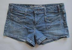 "American Eagle Outfitters denim Shorts 12 Shortie retro Blue Jean stretch 3"" #AmericanEagleOutfitters #Denim"