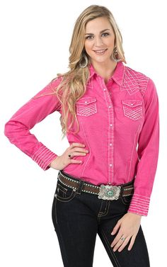 Ariat Women's Rook Marbled Pink Long Sleeve Western Shirt | Cavender's