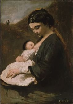 Mother and Child, by Jean-Baptiste-Camille Corot.  Probably circa 1860's.  Oil on wood, 32.4 x 22.5 cm, The Metropolitan Museum of Art, New York.