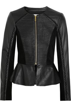 ALICE by Temperley|Giovanni suede-paneled leather peplum jacket