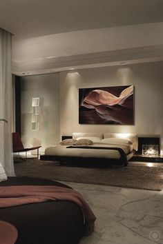 I love the way this feels for the master bedroom.  I think I want two steps up to the bed, and a bigger fireplace.