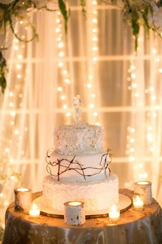 White Woodland Cake | Amy Rizzuto Photography | TheKnot.com
