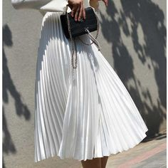 Pleated Skirt Outfit, White Pleated Skirt, White Skirts, Pleated Skirts, Costume Blanc, Long Skirts For Women, Summer Skirts, Casual Skirts, Vintage Skirt