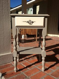 Annie Sloan Chalk Paint Telephone Table in French Linen and Old White