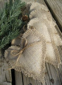 Rustic burlap heart ornaments set of 6 by SplendidEvents on Etsy