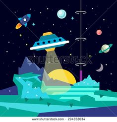 Alien space planet landscape with ufo, ray of light energy, rocket, stars and planets. Flat style vector background illustration. - stock vector