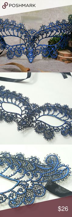 """⤵⤵#2 Masquerade Party Blue Net Knitted Lace Mask House Clearance! New Arrival! (11 Design Available) 1pc x Masquerade Party Blue Net Knitted Design Lace Mask. Approx Size: 9""""×3.5"""" Ribbon: 12.5"""" each side. Sturdy Shape. Polyester Nylon Knitted No Heat. Only few available Perfect for any special party, prom, costume party, ball mask, halloween, cleopatra, venetian, goddess exquisite look! (Bundle Offer Highly Recommend) **Extra stitching on the connection of ribbon if needed up to new owner…"""