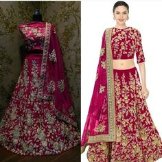 Pink dori work velvet lehenga choli & dupatta set. Size : Free Color : Pink Fabric : Velvet Type : Embroidered Occasion	: Festive Wedding Ceremony Party Neck Type	: Round Neck Sleeve Type	: Half Sleeve  Sale Price : 3600 INR Only ! #Booknow  CASH ON DELIVERY Available In India !  World Wide Shipping !   For orders / enquiry  WhatsApp @ 91-9054562754 Or Inbox Us  Worldwide Shipping !  #SHOPNOW