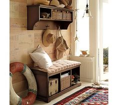 Cottage mud room with crosley brennan entryway bench shelf set for cool interior colors, entryway shelf and bench set Pottery Barn Entryway, Pottery Barn Furniture, Hallway Storage, Entryway Storage, Entryway Furniture, Furniture Upholstery, Home Furniture, Entryway Bench, Entry Organization