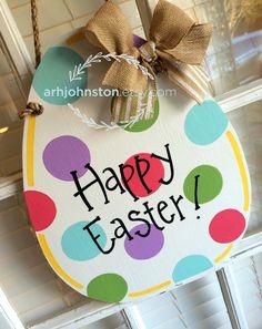 """Easter egg with """"Happy Easter!"""" via @arhjohnston on Etsy."""