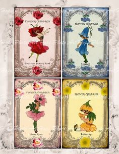 The Flower Children 3x5 Tags French Paper Digital by HopePhotoArt