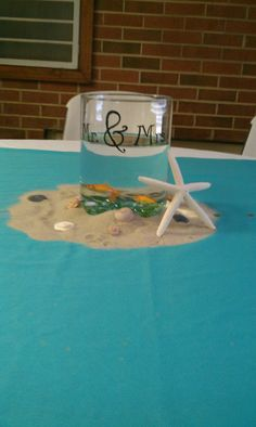 Mom and Dad love the ocean--50 th wedding anniversary party centerpieces (real fish)