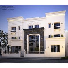 I like the lighting Building Front, Building Design, Interior Exterior, Exterior Design, House Front Design, House Elevation, Facade Design, Modern House Plans, Prefab Homes