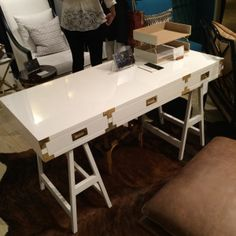Campaign style desk at Selamat. High Point Market Spring 2014 Finds We Love at Design Connection, Inc. | Kansas City Interior Design #HPMkt #HPMkt2014 #InteriorDesign http://www.DesignConnectionInc.com/Blog