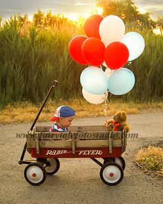 Summer Wagon Sunset at the Lake | 2 Year Old Boy | Red White and Blue Balloons | Patriotic | Independence Day | 4th of July | America | USA | Americana | Flag | Outdoor Photo Shoot | Siblings Portrait Pose | Photography | Americana | Flag | Cute Kid Pic | Children | Child | ~Bountiful Utah Photographer