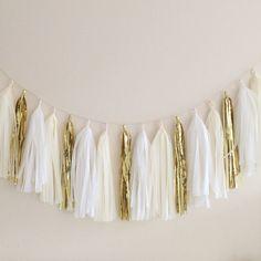 Cream White and Gold Tassel Garland Backdrop by BlushBazaar, $30.00
