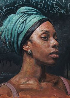 """Bed-Stuy"" - Tim Okamura (Canadian, b. 1968), oil on board {figurative art female head headdress african-american black woman face portrait texture painting grunge drips #loveart} timokamura.com"