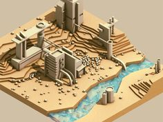 Site plan for a small factory city from Isometric views of little worlds. Timothy J. Reynolds