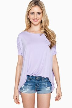 ShopSosie Style : Cozy Short Sleeve Tee in Lilac by Piko