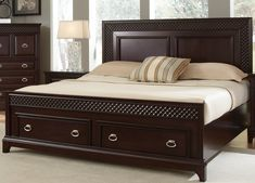 Sonoma King Storage Bed with 2 Drawers by Najarian Furniture at Del Sol Furniture Wood Bed Design, Bedroom Bed Design, Bedroom Furniture Design, Wooden Bed With Storage, Wooden Beds, Bed Designs With Storage, Double Bed Designs, Cama King, Quartos