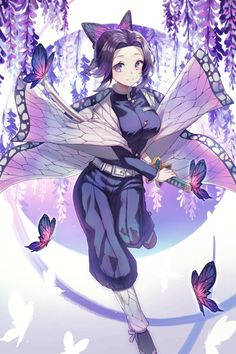 Demon Slayer, Kimetsu no Yaiba, insect hashira, Kochou Shinobu Manga Anime, Fanarts Anime, Otaku Anime, Manga Art, Anime Angel, Anime Demon, Demon Slayer, Slayer Anime, Kawaii Anime Girl