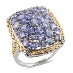 Tanzanite (Ovl), Diamond Ring in Platinum Overlay Sterling Silver Nickel Free (Size 6.0) TDiaWt 0.02 cts, TGW 7.650 cts.