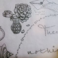 I like to imagine that Jane Austen always had a vase of fresh flowers sitting on the corner of the desk where she penned her letters & manuscripts. So, of course, my tribute art piece would not be complete without them either. Pencil, drawing, sketch, vintage letters. By Shalom Schultz Designs.