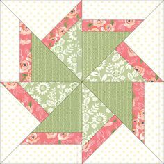 Free paper pieced quilt block by Debra Clutter Free paper pieced quilt block by Debra Clutter Paper Pieced Quilt Patterns, Patchwork Patterns, Quilt Patterns Free, Pattern Blocks, Motifs Applique Laine, Quilt Blocks Easy, 24 Blocks, Star Blocks, Pinwheel Quilt