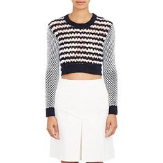 Thakoon Crochet Crop Sweater (4,575 HKD) ❤ liked on Polyvore featuring tops, sweaters, blue, crochet sweater, blue top, cropped sweater, white sweater and white top
