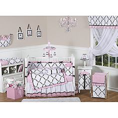 @Overstock - This set boasts a luxurious combination of fabrics including brushed micro fiber, satin, and sheer organza. The rich color palette of black, white and light pink brings classic vision to high-end modern design.http://www.overstock.com/Baby/Pink-Black-and-White-Princess-9-piece-Crib-Bedding-Set/6348548/product.html?CID=214117 $229.99