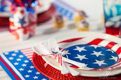 Fun detail shot of 4th of July table decor. Shot for Dinner4Two. www.theWrightlight.com